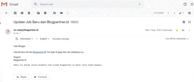 Pemberitahuan Job blogpartner.id via Email