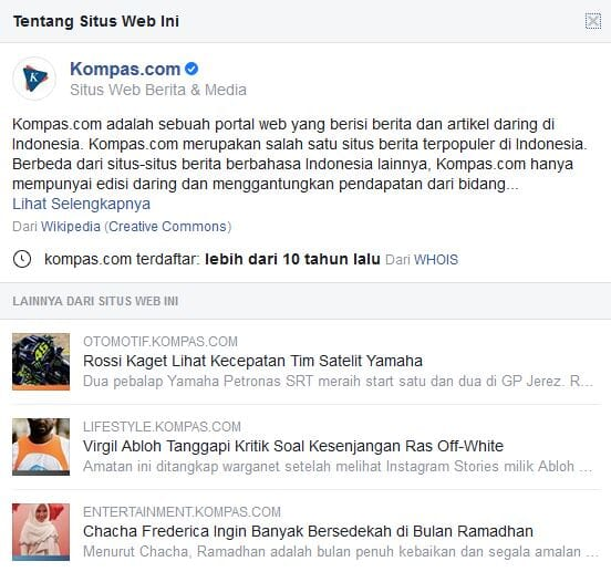 Verfied Domain Kompas at Facebook
