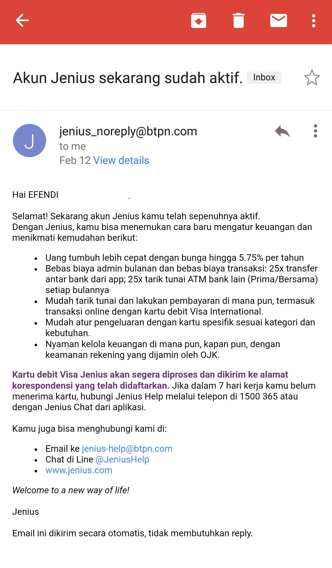 Pemberitahuan akun sudah aktif via email