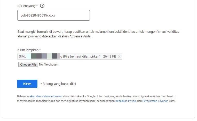 Upload SIM Google AdSense